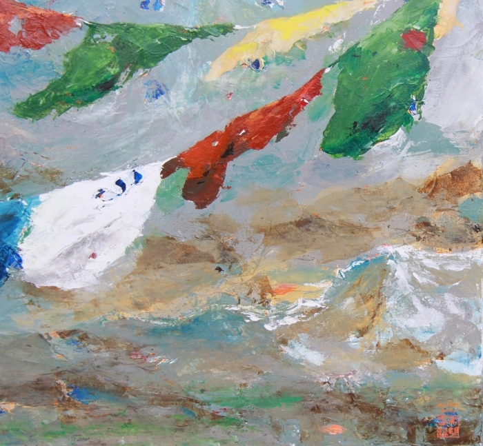 La galerie d'art moderne en ligne Peinture à l'huile - Prayer Flags on the Himalayas