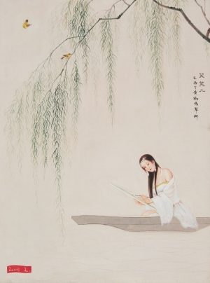 Peinture à l'huile contemporaine - Two Orioles Sing amid the Green Willow