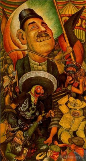 Types de peintures contemporaine - Carnival of mexican life dictatorship 1936