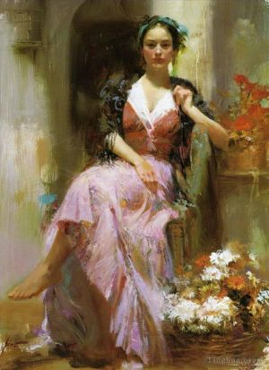 œuvre Pino Daeni lady and flowers