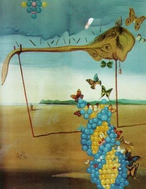 œuvre Butterfly Landscape The Great Masturbator in a Surrealist Landscape with D N A