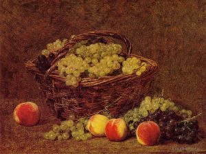 Basket of White Grapes and Peaches