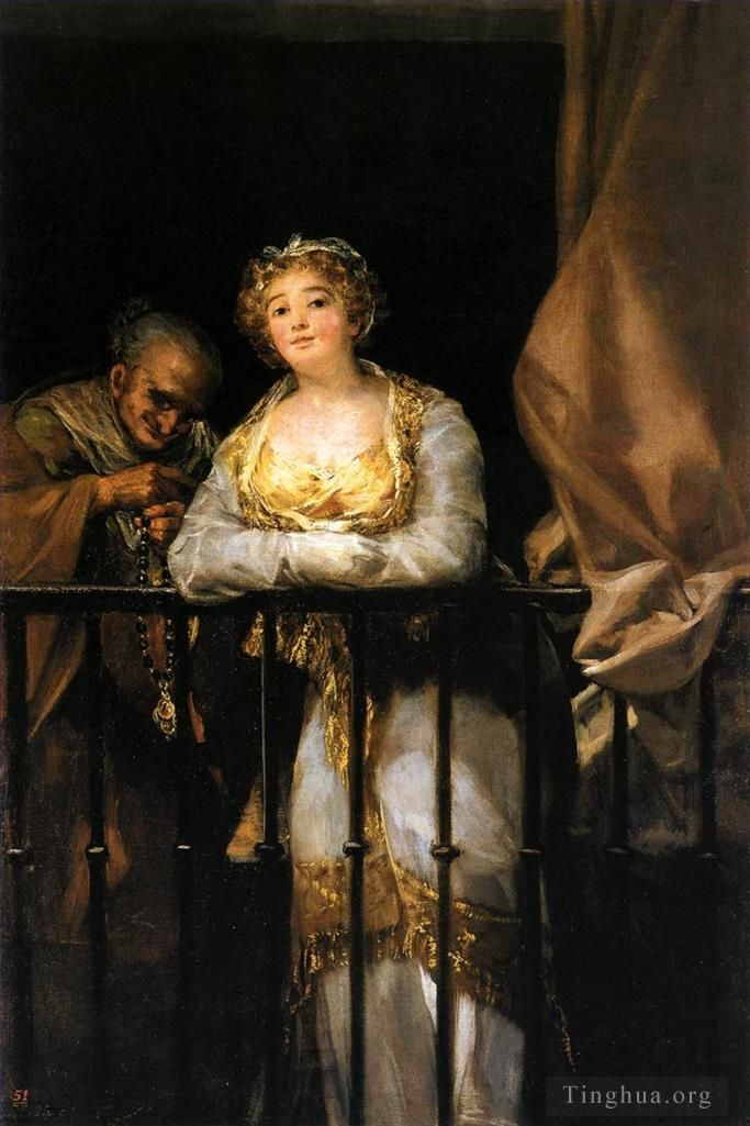 Francisco José de Goya y Lucientes Peinture à l'huile - Maja and Celestina on a Balcony