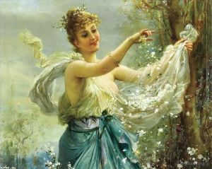 Girl playing flowers
