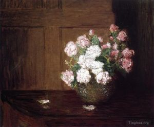 œuvre Roses in a Silver Bowl on a Mahogany Table flower still life